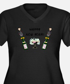 Cute New year party Women's Plus Size V-Neck Dark T-Shirt