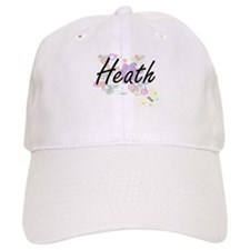 Heath surname artistic design with Flowers Baseball Baseball Cap