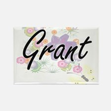 Grant surname artistic design with Flowers Magnets
