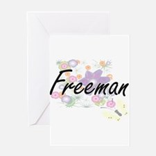 Freeman surname artistic design wit Greeting Cards