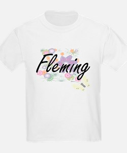 Fleming surname artistic design with Flowe T-Shirt