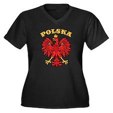 Polska Eagle Women's Plus Size V-Neck Dark T-Shirt
