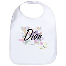 Dion surname artistic design with Flowers Bib