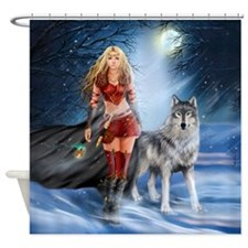 Warrior Woman And Wolf Shower Curtain