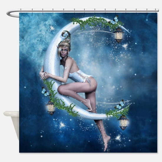 Female Elf Moon Shower Curtain