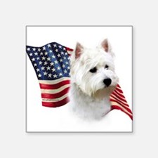"Cute Westie Square Sticker 3"" x 3"""