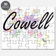 Cowell surname artistic design with Flowers Puzzle