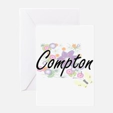 Compton surname artistic design wit Greeting Cards