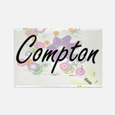 Compton surname artistic design with Flowe Magnets