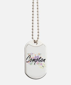 Compton surname artistic design with Flow Dog Tags