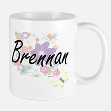 Brennan surname artistic design with Flowers Mugs