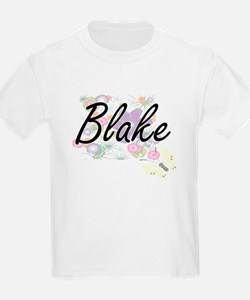 Blake surname artistic design with Flowers T-Shirt