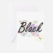 Black surname artistic design with Greeting Cards