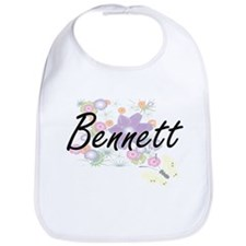 Bennett surname artistic design with Flowers Bib