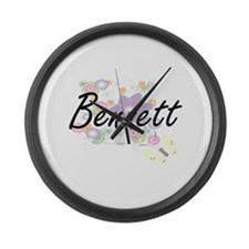 Bennett surname artistic design w Large Wall Clock