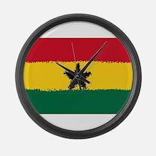 8 bit flag of Ghana Large Wall Clock