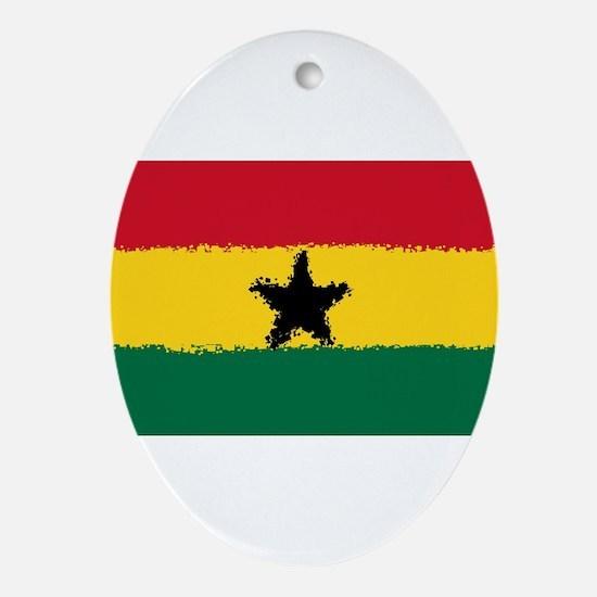 8 bit flag of Ghana Oval Ornament