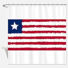 8 bit flag of Liberia Shower Curtain
