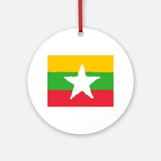 Burma in 8 bit Round Ornament