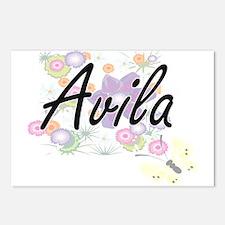 Avila surname artistic de Postcards (Package of 8)