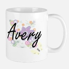 Avery surname artistic design with Flowers Mugs