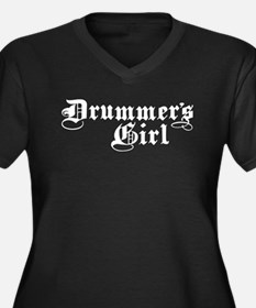 Drummer's Girl Women's Plus Size V-Neck Dark T-Shi
