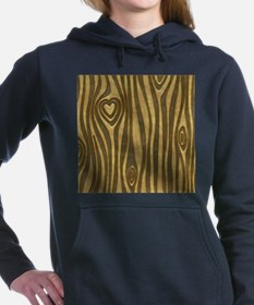 Golden Wood Grain Heart Women's Hooded Sweatshirt
