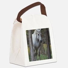 Funny White horse Canvas Lunch Bag