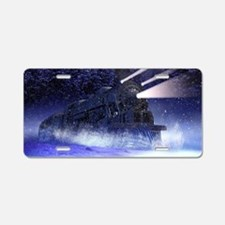 Snowy Night Train Aluminum License Plate