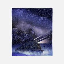 Snowy Night Train Throw Blanket