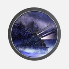 Snowy Night Train Wall Clock
