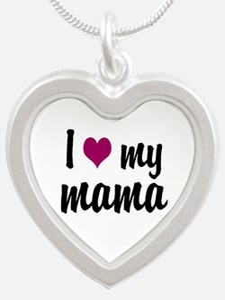 I Love My Mama Silver Heart Necklace