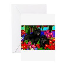 Cute Schipperke dog Greeting Cards (Pk of 10)