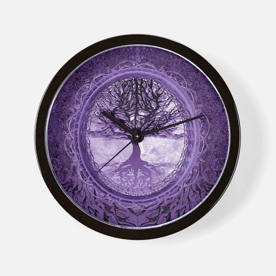 Tree of Life in Purple Wall Clock