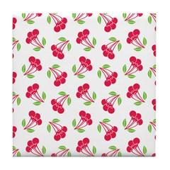 Cherries Pattern Tile Drink Coaster