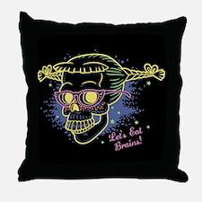 Nerd Girl Zombie Skull Throw Pillow