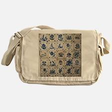 Antique Tile Art Grid Messenger Bag