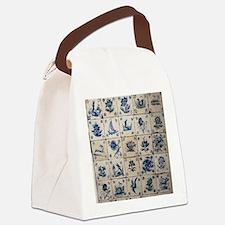 Antique Tile Art Grid Canvas Lunch Bag