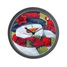 Snowman with Scarf Wall Clock