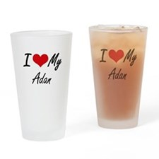 I Love My Adan Drinking Glass