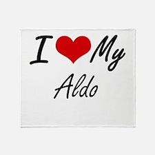 I Love My Aldo Throw Blanket