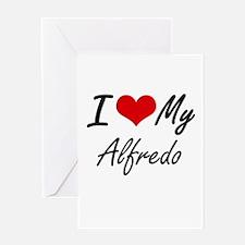 I Love My Alfredo Greeting Cards