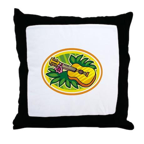 Hawaiian Ukulele Luau - Retro Throw Pillow