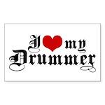 I Love My Drummer Rectangle Sticker