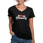 I Love My Drummer Women's V-Neck Dark T-Shirt