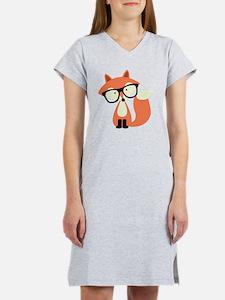 Cute Hipster Red Fox Women's Nightshirt