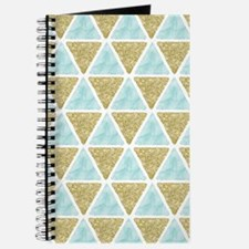 Mint and Gold Glitter Triangles Pattern Journal