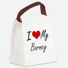 I Love My Barney Canvas Lunch Bag