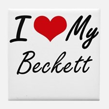 I Love My Beckett Tile Coaster