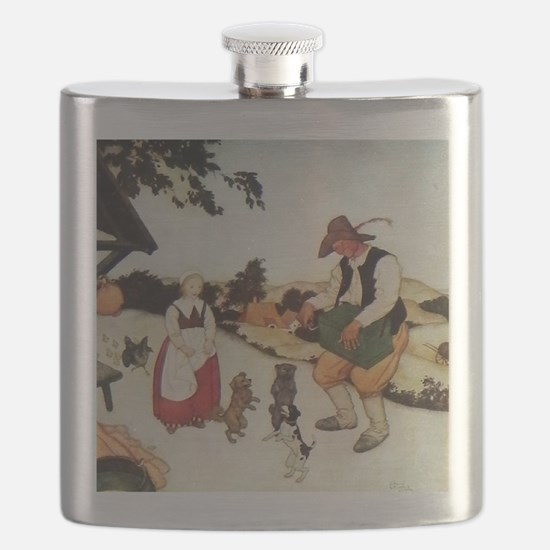 Flemish Fairy Tale - White Caroline and Blac Flask